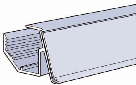 Vinklad list 39mm för plåthylla Grå 895mm