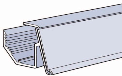 Vinklad list 39mm för plåthylla Grå 894mm
