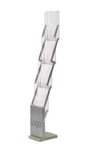 Broschyrställ Delux Fällbart, Silver 4xA4