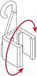 Hängclips för ram med vridbar krok