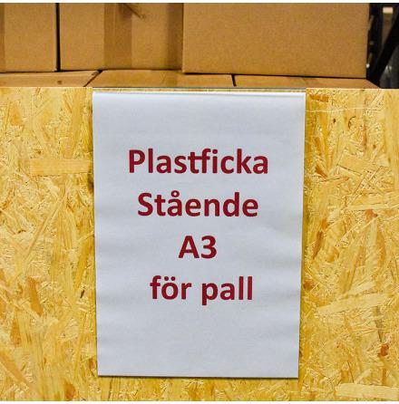 Plastficka A3 Stående för pallkragar i klarplast