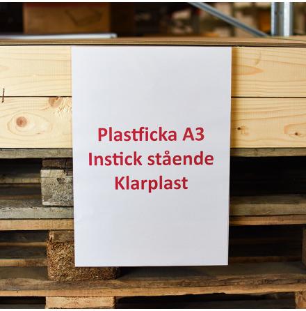 Plastficka A3 Instick stående Klarplast